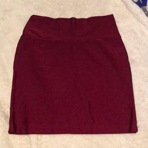 Maroon high waisted bodycon skirt